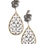 14K Yellow Gold and Oxidized Silver Pave Diamond Snake and Moonstone Teardrop Pierced Earrings