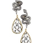 14K Yellow Gold and Oxidized Silver Pave Diamond Snake and Moonstone Mini Teardrop Pierced Earrings