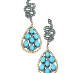 14K Yellow Gold and Oxidized Silver Pave Diamond Snake and Brick Turquoise Mini Teardrop Pierced Earrings