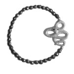 Gold Plated Hematite Bead Snake Stretch Bracelet