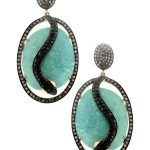 14K Yellow Gold and Oxidized Silver Pave Diamond Snake and Arizona Turquoise Slice Pierced Earrings