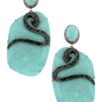 14K Yellow Gold and Oxidized Silver Pave Diamond Snake and Turquoise Slice Pierced Earrings